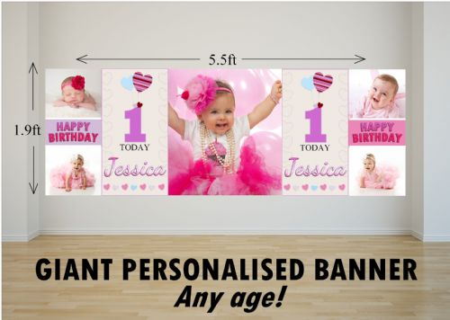 Personalised GIANT Large Girls Heart Balloons Happy Birthday PHOTO Poster Banner N69 ANY AGE